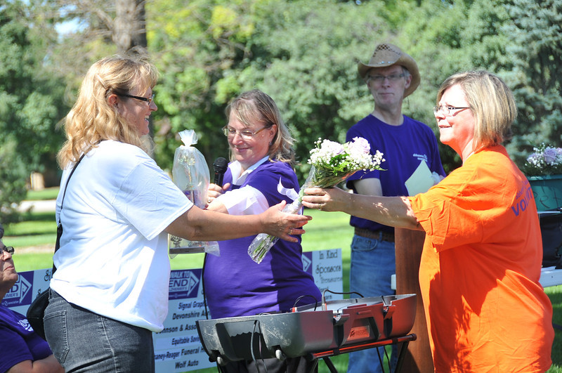 Trude and the Dude's Brood won third place for the team that raised the most money for the Walk to End Alzheimer's Saturday, Aug. 24, 2013, at Columbine Park.