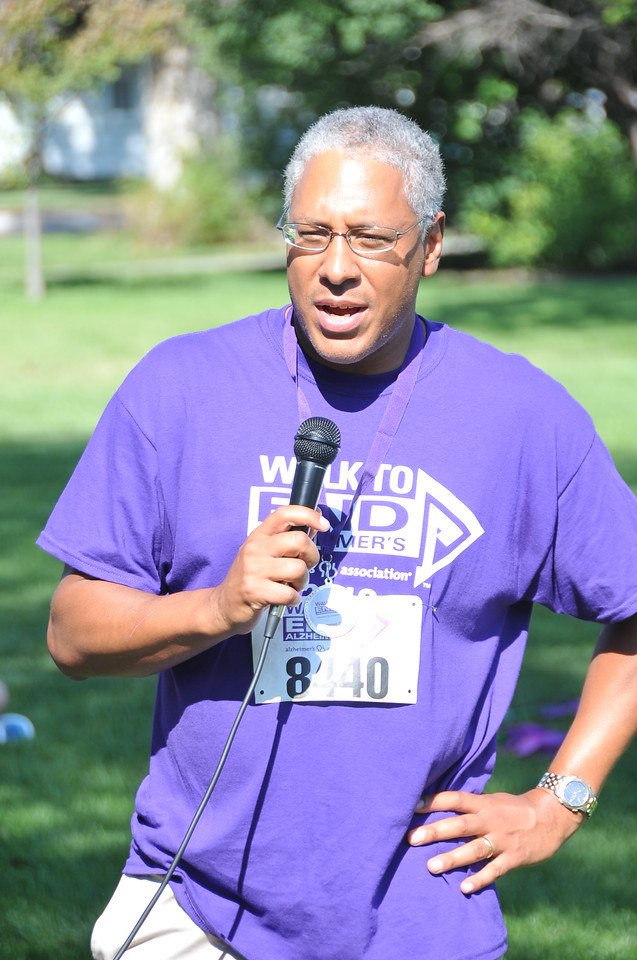 Francis Brown, a board member for the Colorado Chapter of the Alzheimer's Association, talks at the Walk to End Alzheimer's Saturday, Aug. 24, 2013, at Columbine Park.