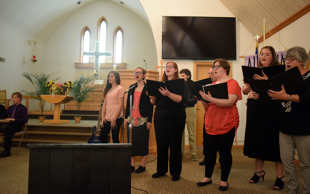 """. Harmoic Horizons Conservatory students and friends perform \""""Let Sweet Hosannas Ring\"""" during a Recital of the Harmoic Horizons Conservatory and Studio of Darla Korrey Sunday, April 28, 2019."""
