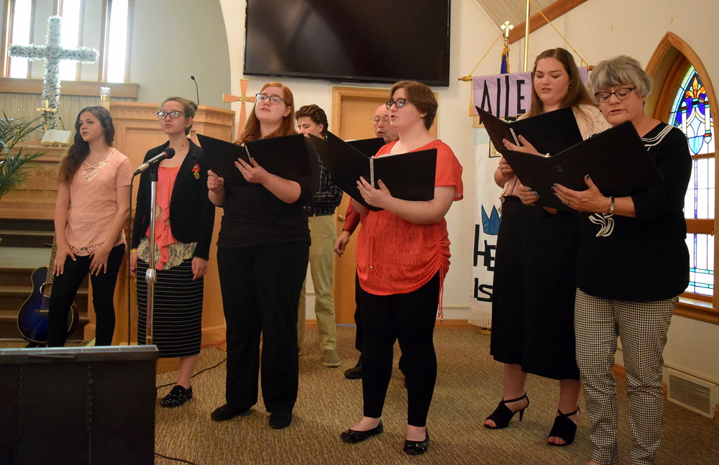 """. Harmonic Horizons Conservatory students and friends perform \""""Let Sweet Hosannas Ring\"""" during a Recital of the Harmoic Horizons Conservatory and Studio of Darla Korrey Sunday, April 28, 2019."""
