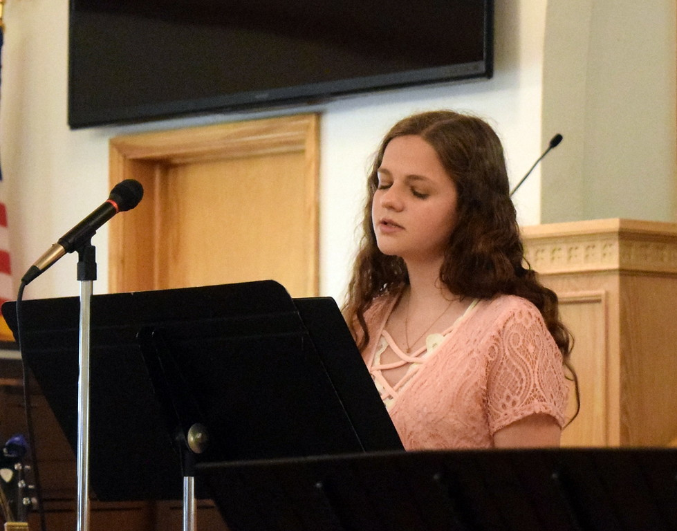 """. Mikayla von Steinman gives a vocal performance of \""""Mother Now Sing Me to Rest\"""" during a Recital of the Harmoic Horizons Conservatory and Studio of Darla Korrey Sunday, April 28, 2019."""