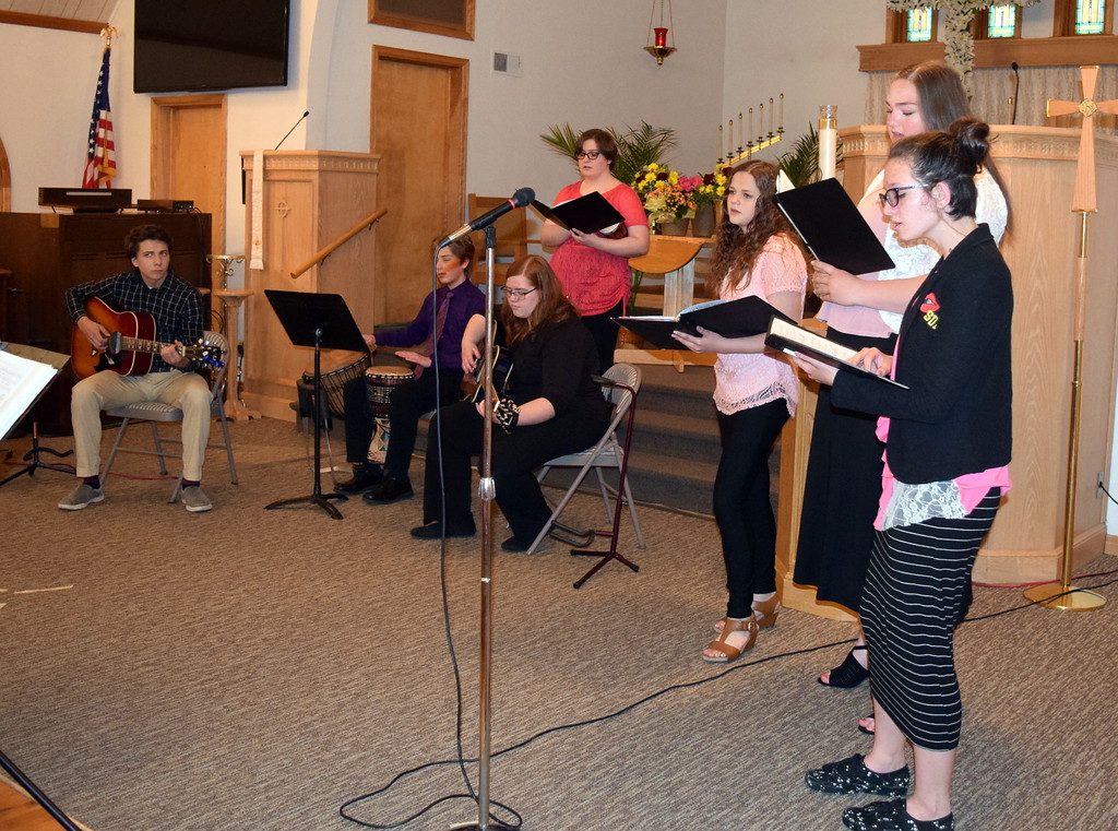 """. From left; Alex Norell, Bredon Ransdell, Camryn Trump, Darcy Trump, Mikayla von Steinman, Mallory Kaiser and Taylor Cranwell perform \""""Your Everlasting Love\"""" at a Recital of the Harmoic Horizons Conservatory and Studio of Darla Korrey Sunday, April 28, 2019."""