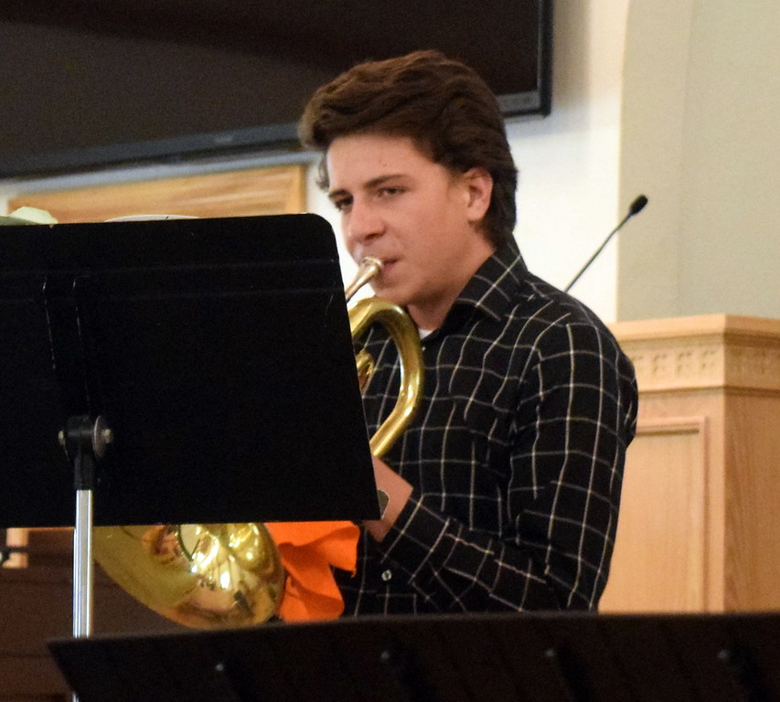 """. Alex Norell performs \""""Ballade\"""" on the mellophone and French horn during a Recital of the Harmoic Horizons Conservatory and Studio of Darla Korrey Sunday, April 28, 2019."""