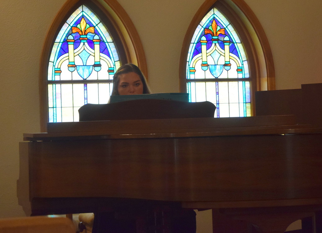 """. Mallory Kaiser performs \""""Morning Has Broken\"""" on the piano during a Recital of the Harmoic Horizons Conservatory and Studio of Darla Korrey Sunday, April 28, 2019."""