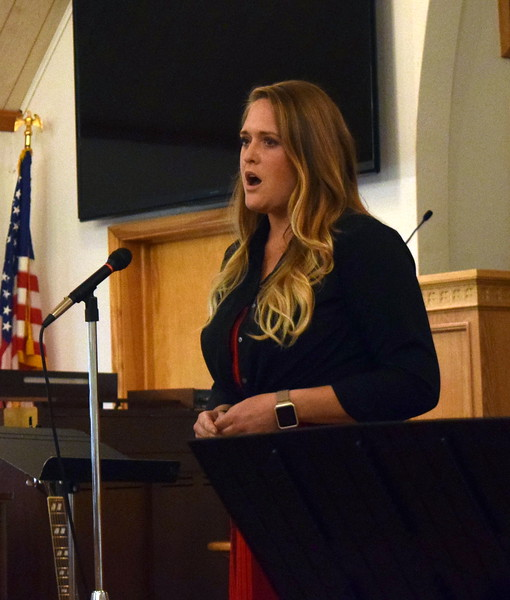 "Jula Bornhoft gives a vocal performance of ""Romance"" during a Recital of the Harmoic Horizons Conservatory and Studio of Darla Korrey Sunday, April 28, 2019."