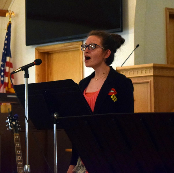 "Taylor Cranwell gives a vocal performance of ""Ladybird"" during a Recital of the Harmoic Horizons Conservatory and Studio of Darla Korrey Sunday, April 28, 2019."