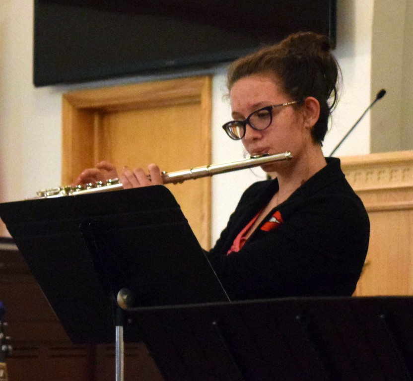 """. Taylor Cranwell performs \""""Valse Gracieuse\"""" on the flute during a Recital of the Harmoic Horizons Conservatory and Studio of Darla Korrey Sunday, April 28, 2019."""