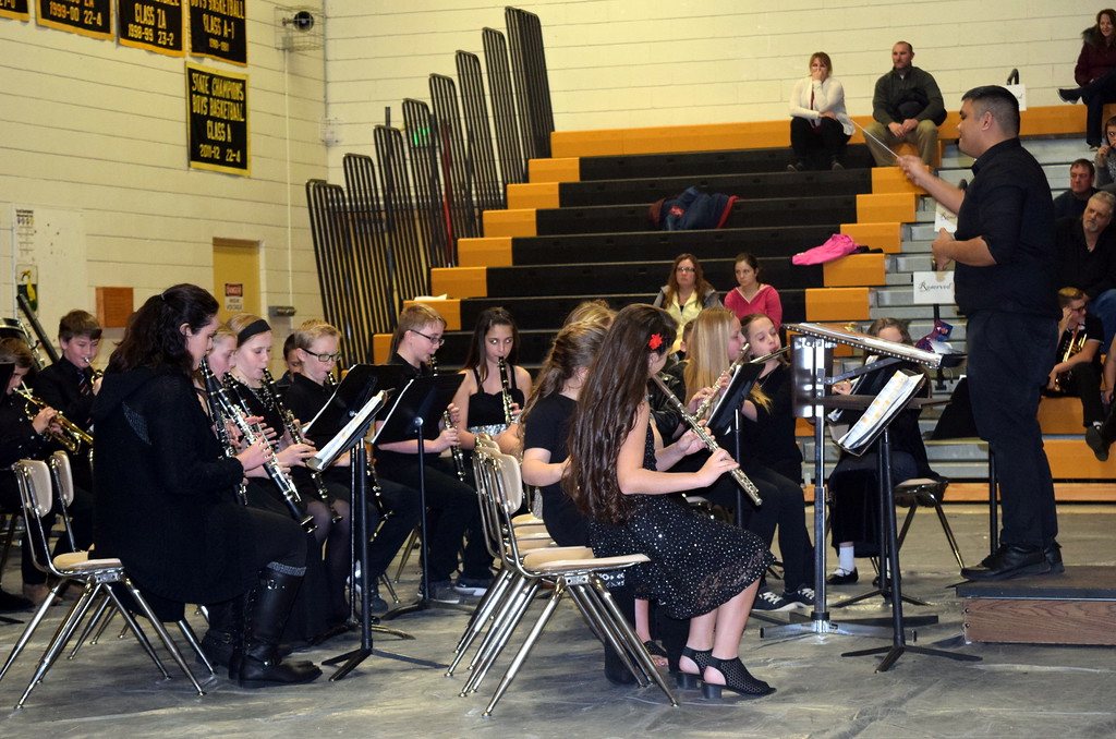 ". The Caliche Elemenary Band performs ""Hot Cross Buns,\"" under the direction of Ryan Rosete, during the school\'s holiday program Tuesday, Dec. 4, 2018."