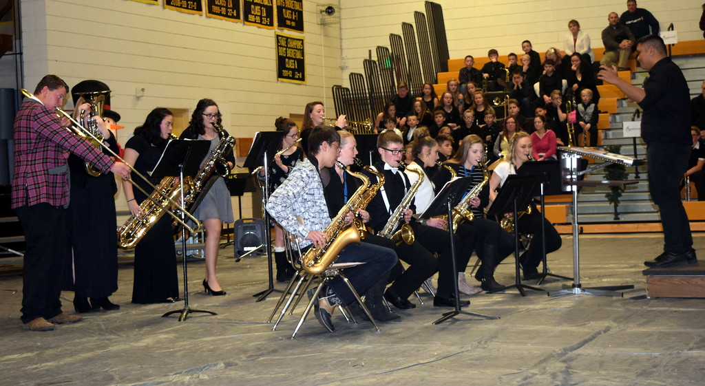 ". The Caliche High School Band performs ""Christmas Time is Here,\"" under the direction of Ryan Rosete, during the school\'s  holiday program Tuesday, Dec. 4, 2018."
