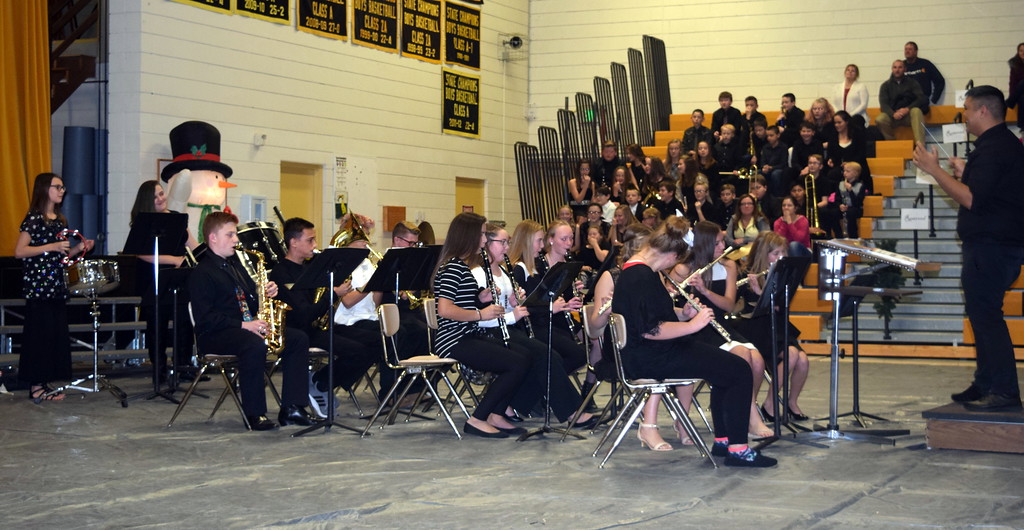 ". The Caliche Junior High Band performs ""We Three Kings,\"" under the direction of Ryan Rosete, during the school\'s holiday program Tuesday, Dec. 4, 2018."