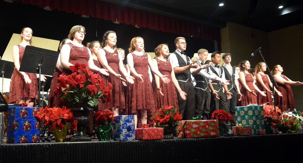 """. The Sterling High School Jazz Choir performs \""""A Million Dreams,\"""" under the direction of Annette Lambrecht, during the Master Chorale\'s \""""27thNoel\"""" Sunday, Dec. 9, 2018."""