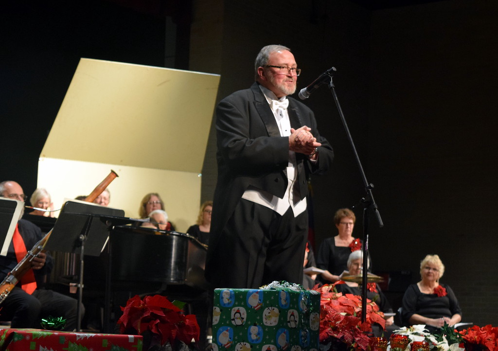 """. Conductor Don Johnson welcomes the audience to Master Chorale\'s \""""27th Noel\"""" Christmas Concert Sunday, Dec. 9, 2018."""