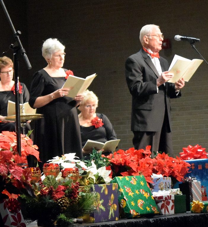 """. Jim Leh sings a tenor solo during a performance of \""""There Were Shepherds\"""" at Master Chorale\'s \""""27th Noel\"""" Christmas Concert Sunday, Dec. 9, 2018. Next to him is alto soloist Nancy Bohac."""