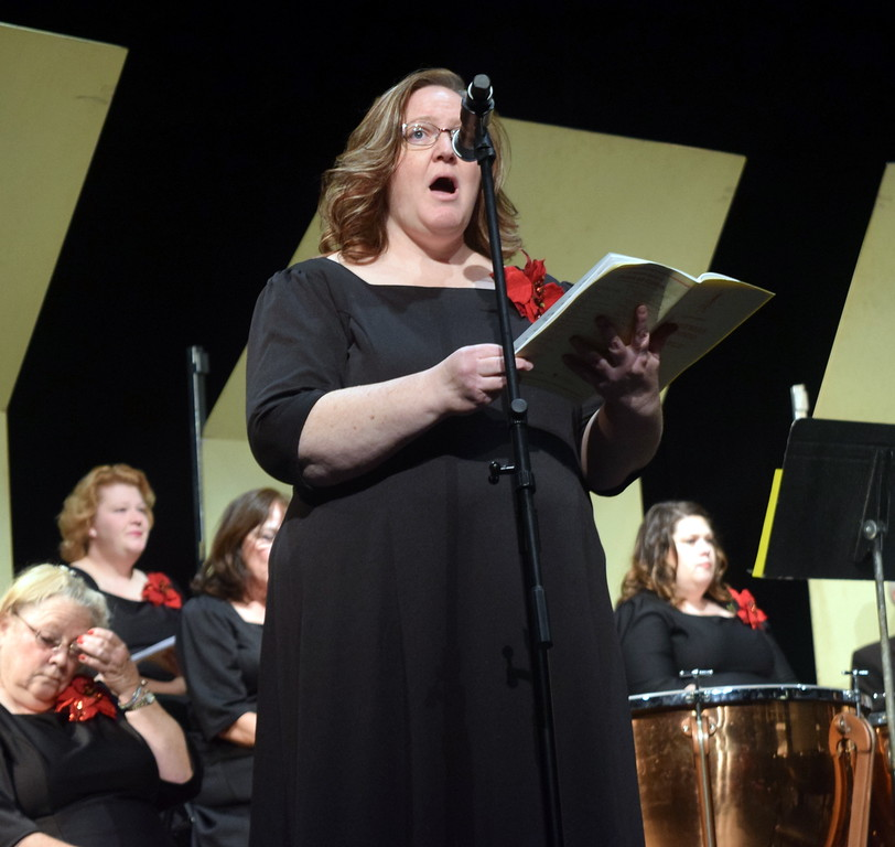 """. Soprano soloist Jeneen Trump sings during a performance of \""""Blessed, Blessed Is He Who Cometh\"""" at Master Chorale\'s \""""27th Noel\"""" Christmas Concert Sunday, Dec. 9, 2018."""