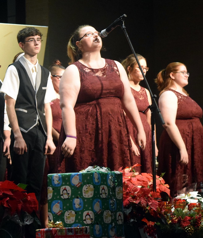 """. A soloist sings during Sterling High School Jazz Choir\'s performance of \""""A Million Dreams\"""" at Master Chorale\'s \""""27th Noel\"""" Christmas Concert Sunday, Dec. 9, 2018."""