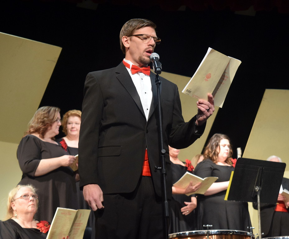 """. Bass soloist Bryan Kaiser sings during a performance of \""""There Were Shepherds\"""" at Master Chorale\'s \""""27th Noel\"""" Christmas Concert Sunday, Dec. 9, 2018."""