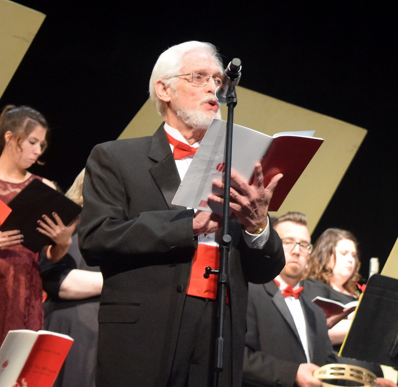 """. Bass soloist Larry Fetzer sings during a performance of \""""Three Kings of Orient\"""" at Master Chorale\'s \""""27th Noel\"""" Christmas Concert Sunday, Dec. 9, 2018."""
