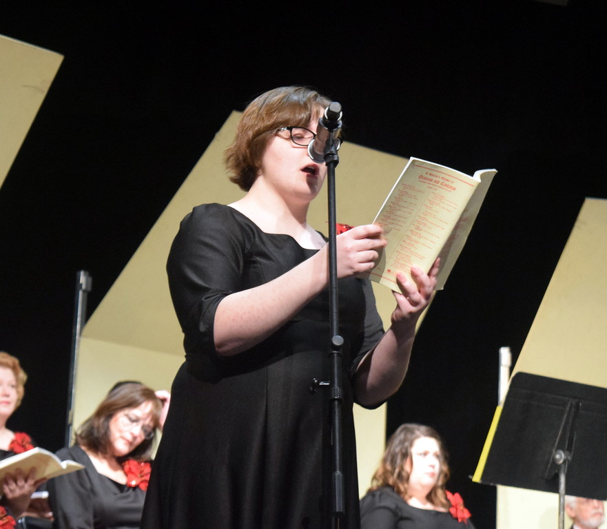 """. Soprano soloist Camryn Trump sings during a performance of \""""There Were Shepherds\"""" at Master Chorale\'s \""""27th Noel\"""" Christmas Concert Sunday, Dec. 9, 2018."""