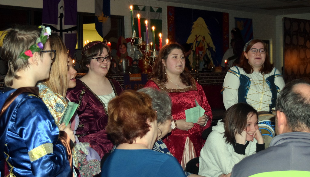 . Wandering Minstrels perform as guests enjoy their meal during Sterling High School\'s Madrigal Dinner Monday, Dec. 3, 2018.