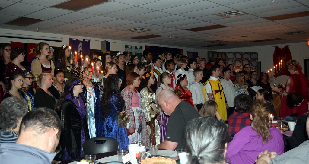 ". The Sterling High School Mixed Choir performs ""Antiphonal Deck the Hall,\"" under the direction of Annette Lambrecht, at the Madrigal Dinner Monday, Dec. 3, 2018."