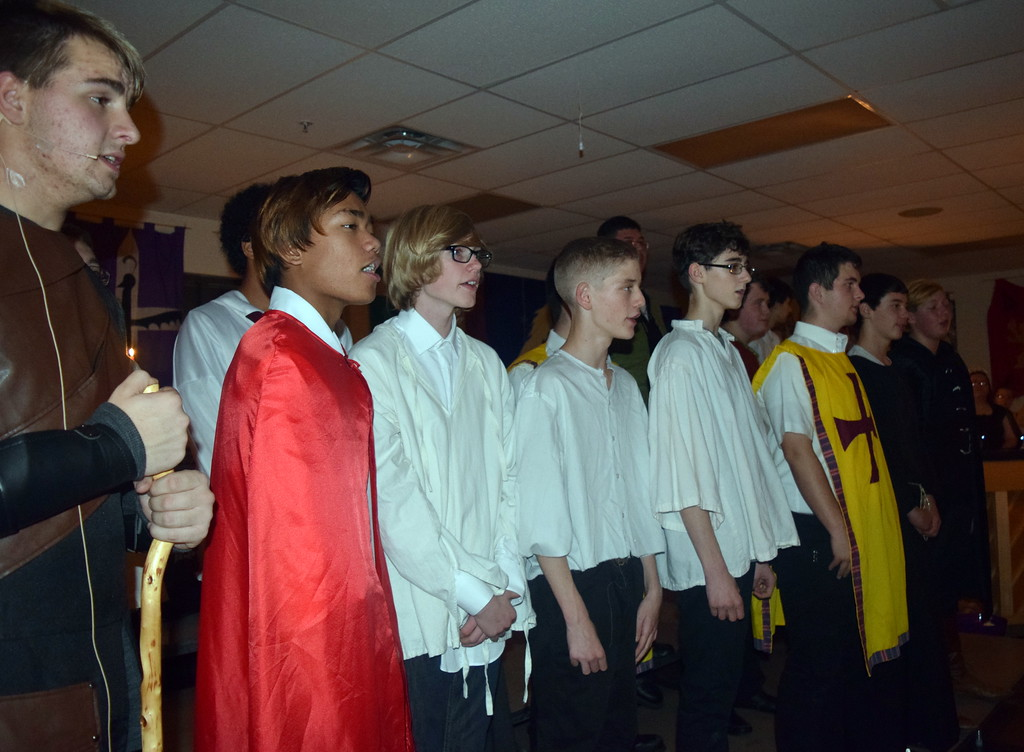 ". The Sterling High School Men\'s Choir performs ""I Saw Three Ships\"" during the school\'s Madrigal Dinner Monday, Dec. 3, 2018."