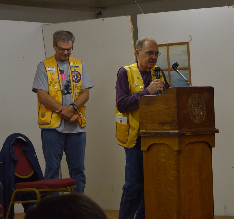 . Sterling Lions Club President Greg Dyson speaks about some of the group\'s activities during the club\'s Cowboy Breakfast Wednesday, Aug. 8, 2018.