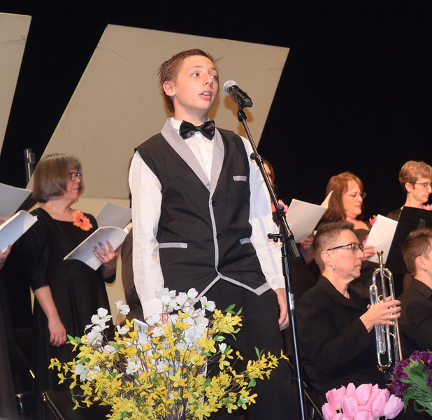 "Dillon Boden sings a solo during Master Chorale's performance of ""Lord Have Mercy,"" part of the ""Gospel Mass"" at the chorale's 28th annual Spring Concert Sunday, May 5, 2019."