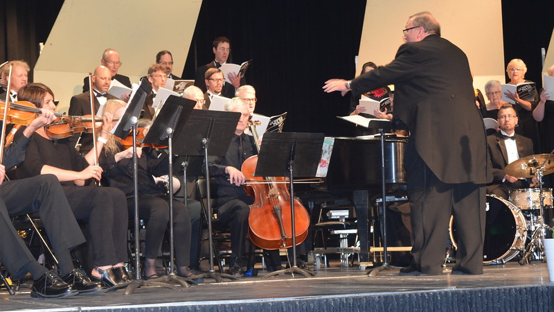 "Master Chorale members and the sinfonia perform ""Gloria to God in the Highest,"" part of the ""Gospel Mass,"" under the direction of Don Johnson, at their 28th annual Spring Concert Sunday, May 5, 2019."