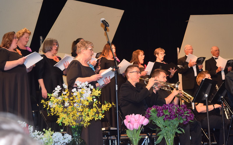 "Master Chorale members perform ""Gloria to God in the Highest,"" part of the ""Gospel Mass,"" under the direction of Don Johnson, at their 28th annual Spring Concert Sunday, May 5, 2019."
