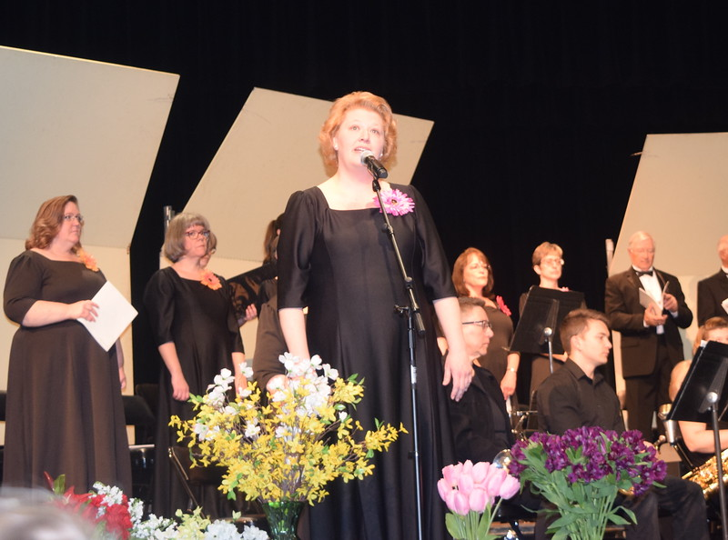 "Annette Lambrecht sings a solo during Master Chorale's performance of ""Down to the River to Pray"" at their 28th annual Spring Concert Sunday, May 5, 2019."
