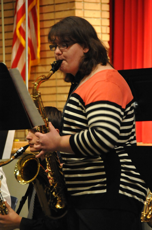 "Bryony Trump plays a solo in ""Watermelon Man"" as the Sterling High School Jazz Band kicks off the Winter Concert Thursday, Dec. 18, 2014."