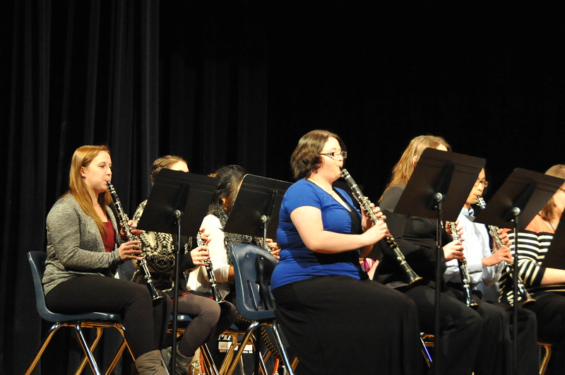 The clarinet section of the Sterling High School Concert Band plays during the Winter Concert Thursday, Dec. 18.
