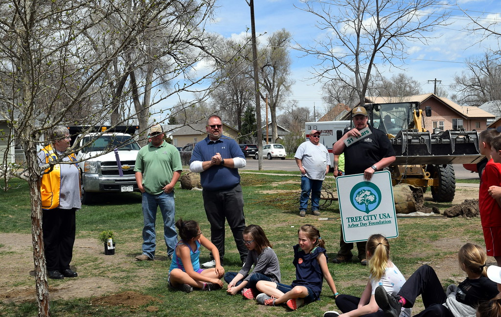 . City of Sterling Parks, Library and Recreation Director Wade Gandee introduces Matt Norville, of the Colorado State Forest Service, during an Arbor Day celebration Friday, April 26, 2019, at Monahan Park.