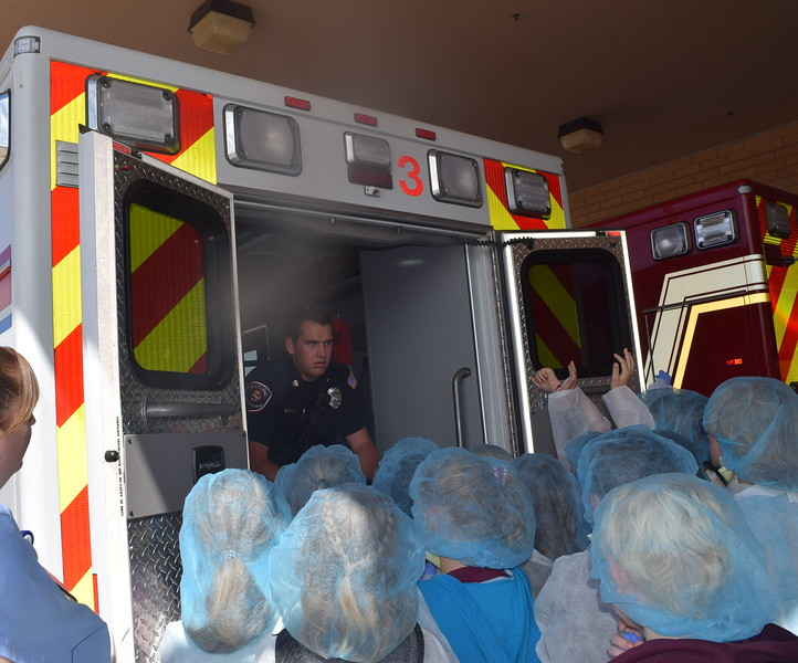 Fleming and Merino Elementary third graders learn about the equipment found on an ambulance during a tour of Sterling Regional MedCenter Wednesday, April 24, 2019.