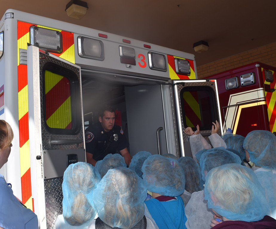 . Fleming and Merino Elementary third graders learn about the equipment found on an ambulance during a tour of Sterling Regional MedCenter Wednesday, April 24, 2019.