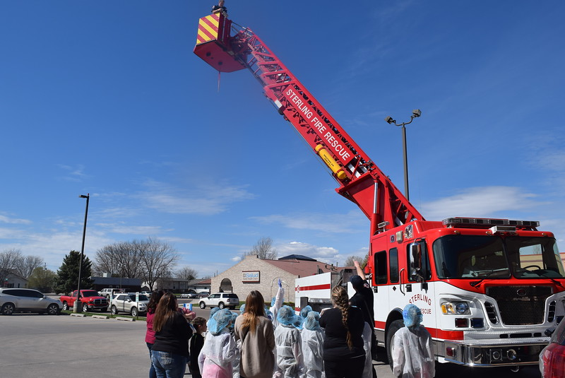 Fleming and Merino Elementary third graders get a look at some of the equipment Sterling Firefighters use during a tour of Sterling Regional MedCenter Wednesday, April 24, 2019.