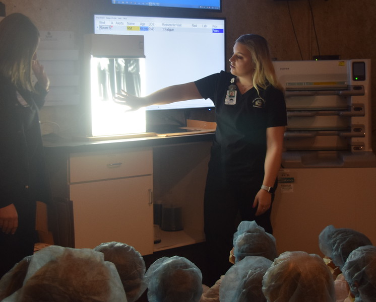 Fleming and Merino Elementary third graders get a look an an x-ray of a broken bone during a stop in the radiology department that was part of their tour of Sterling Regional MedCenter.