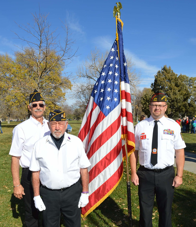 From left, Joe Notario and Norm Speaker of the American Legion Post 20, and Lonnie Brungardt of the VFW Post 3541 at the Veterans Day service Friday, Nov. 11, 2016, at Columbine Park in Sterling, Colo.