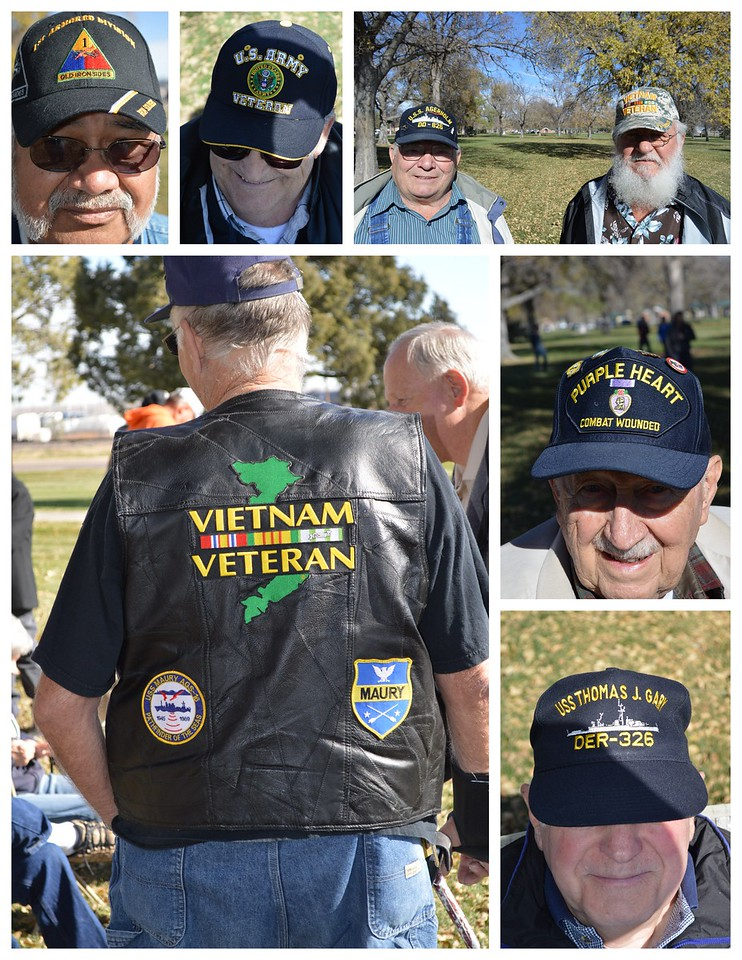 Veterans attending the 2016 Veterans Day service at Columbine Park in Sterling, Colo., identify their military service through their clothing and accessories.