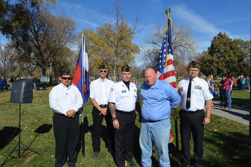 From left: Orrin Fryer, Joe Notario, Fred Kubitz, Ben McLaughlin and Lonnie Brungardt at the Veterans Day service in Columbine Park. 11.11.16