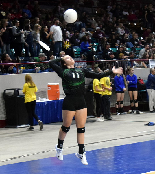 Bailey Chintala goes up for a serve in a Fleming win at the 1A state tournament.