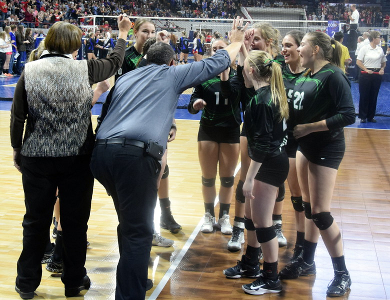 Fleming Wildcats huddle in the championship game.