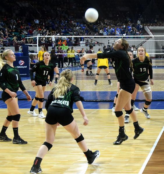 Kendyl Kirkwood keeps a ball in play at the Denver Coliseum on Friday.