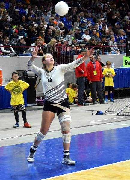 Alli Keisel attempts a serve in the Wildcats state tournament win over Springfield.