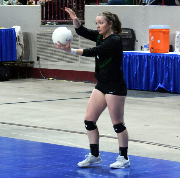Jenna Lengfelder goes back to serve during the championship game on Saturday at the Denver Coliseum.