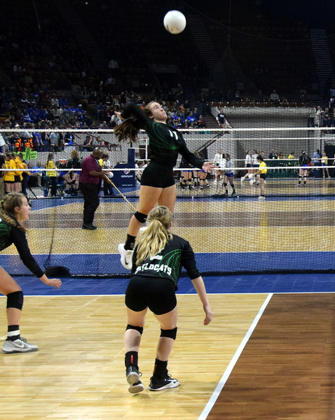 Bailey Chintala rises up for a kill in the 1A state volleyball tournament.