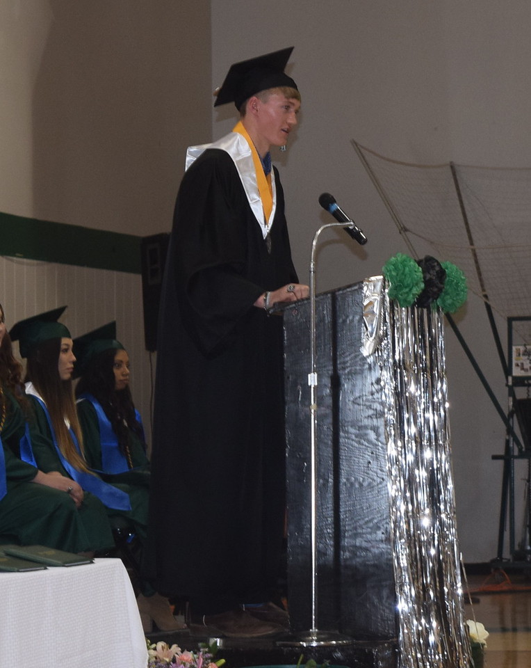 Salutatorian Alex Vandenbark gives remarks during Fleming High School's commencement ceremony Sunday, May 14, 2017.