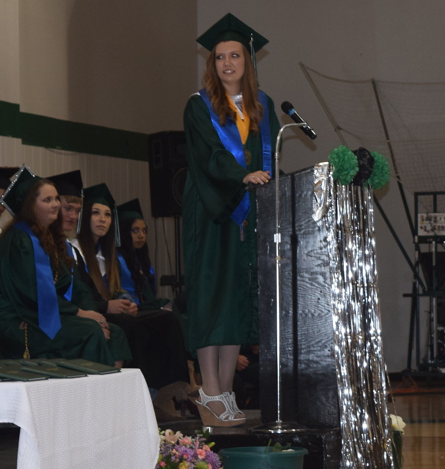 Valedictorian Jessica Sigmon gives remarks at Fleming High School's commencement ceremony Sunday, May 14, 2017.