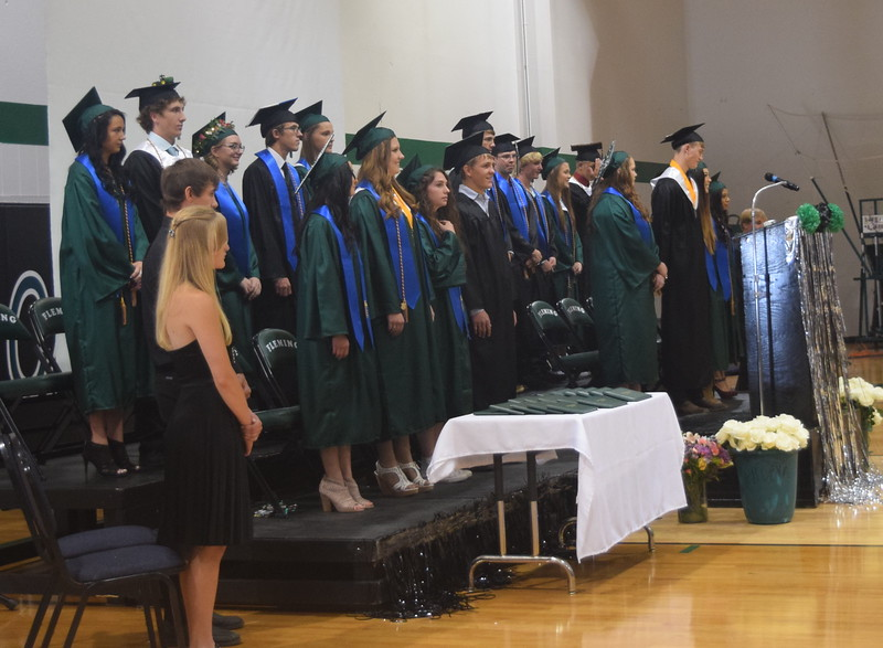 The Fleming High School class of 2017 waits for the commencement ceremony to begin Sunday, May 14, 2017.