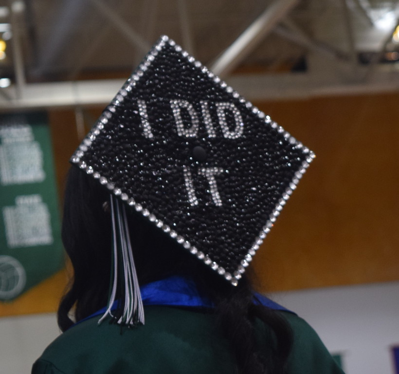 """I Did It"" declares the cap of one of the graduates at Fleming High School's commencement ceremony Sunday, May 14, 2017."